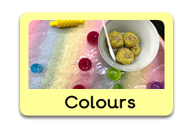 Different colours Themed Tuff Trays for Toddlers-EYFS Children - Learning Through Play Sessions
