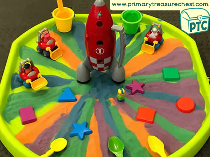 Space Rocket themed sand play - Role Play Sensory Play - Tuff Tray Ideas Early Years / Nursery / Primary