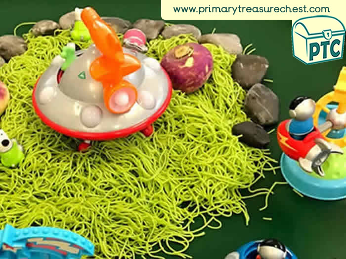 Space Small World sensory play - Role Play Sensory Play - Tuff Tray Ideas Early Years / Nursery / Primary