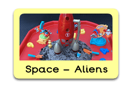 Space and alien Themed Tuff Trays for Toddlers-EYFS Children - Learning Through Play Sessions