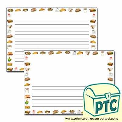 Sandwich Shop Themed Landscape Page Border/Writing Frame (narrow lines)