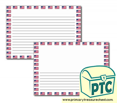American Flag Landscape Page Border/Writing Frame (narrow lines)