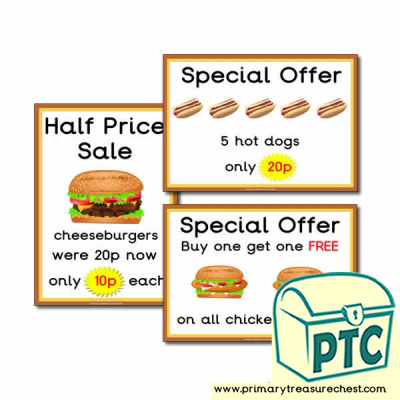 Fast Food Takeaway Role Play Special Offers (1-20p)