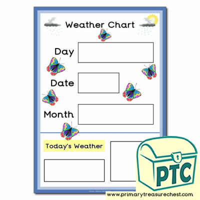 Weather Chart A3 Poster with butterflies