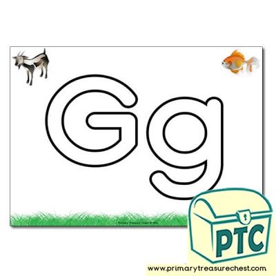 'Gg' Upper and Lowercase Bubble Letters A4 Poster, containing high quality, realistic images