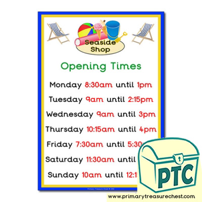 Seaside Shop Opening Times (Quarter & Half Past)