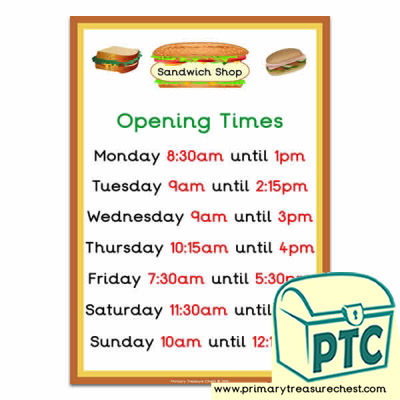 Sandwich Shop Role Play Opening Times (Quarter & Half Past)