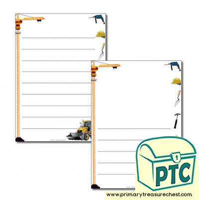 Construction Site Themed Page Border/Writing Frame (wide lines)