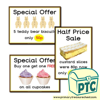 Role Play Cake Shop Special Offer Posters 21p to £99