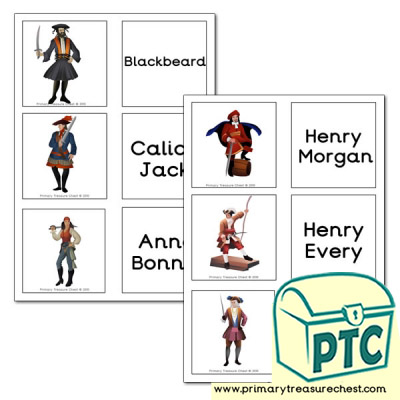 Famous Pirate hemed Matching Cards