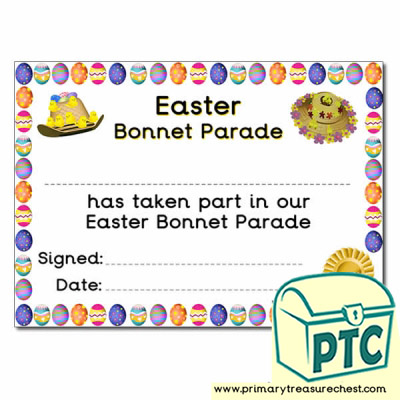 Easter Bonnet Parade Themed Certificate