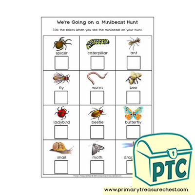 Minibeasts Themed We're Going on a Hunt Worksheet