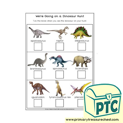 We're Going on a Dinosaur Hunt Worksheet