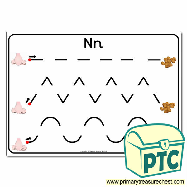 'Nn' Themed Pre-Writing Patterns Activity Sheet