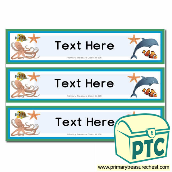 Sea Life Themed Pupil Drawer Labels (Large)