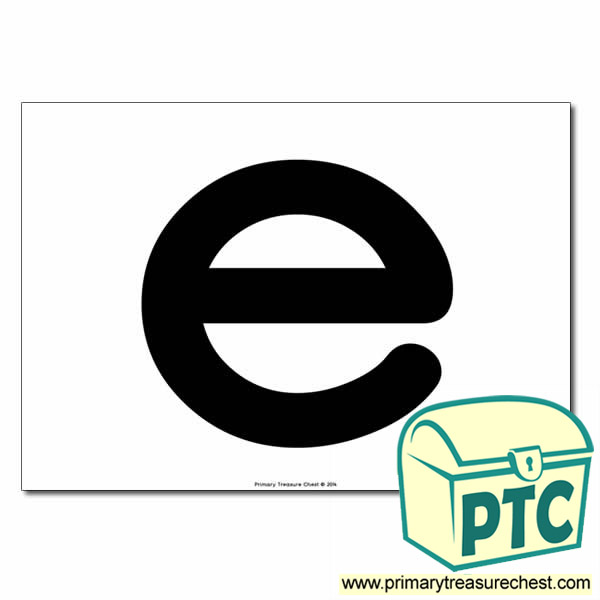 'e' Lowercase Letter A4 poster  (No Images)