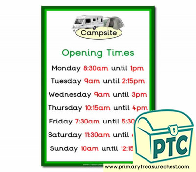 Campsite Role Play Opening Times (Quarter & Half Past Times)