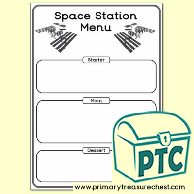 Space Station Menu Worksheet