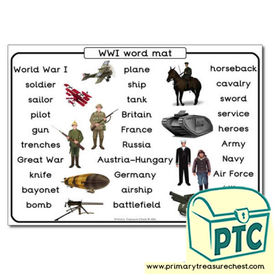 World War One Themed Word Mat
