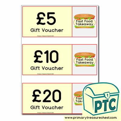 Fast Food Takeaway Role Play  Vouchers
