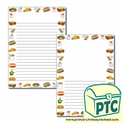 Sandwich Shop Themed Page Border/Writing Frame (narrow lines)