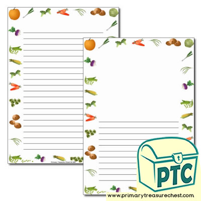 Vegetable Themed Page Borders/Writing Frames (narrow lines)
