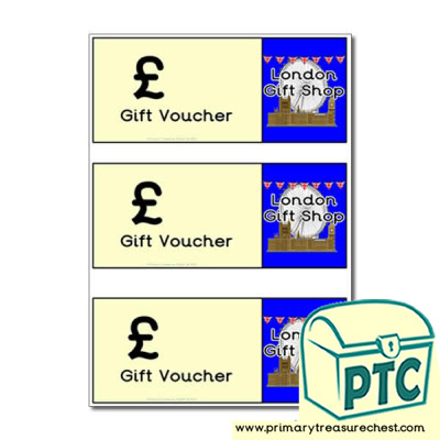 London Gift Shop Shopping blank vouchers