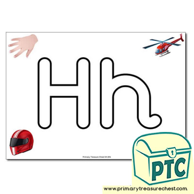 'Hh' Upper and Lowercase Bubble Letters A4 Poster, containing high quality, realistic images