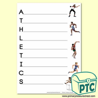 Athletics   Acrostic Poem Sheet