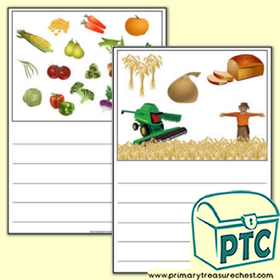 Harvest Themed Writing Activity Worksheet  (Wide Lines)