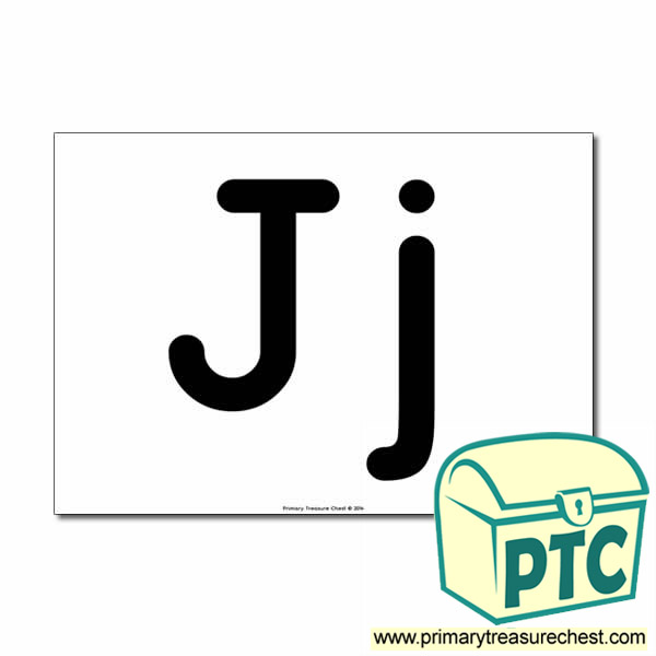 'Jj' Upper and Lowercase Letters A4 poster (No Images)