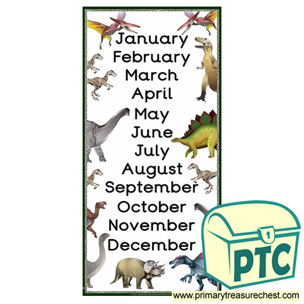 Dinosaur Themed Months of the Year Poster
