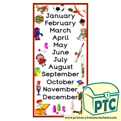Toy Themed Months of the Year Poster