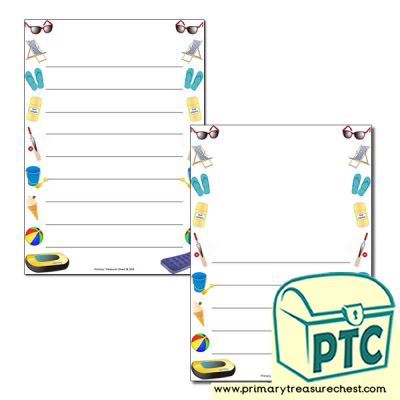 Seaside Shop Page Border/Writing Frame (wide lines)