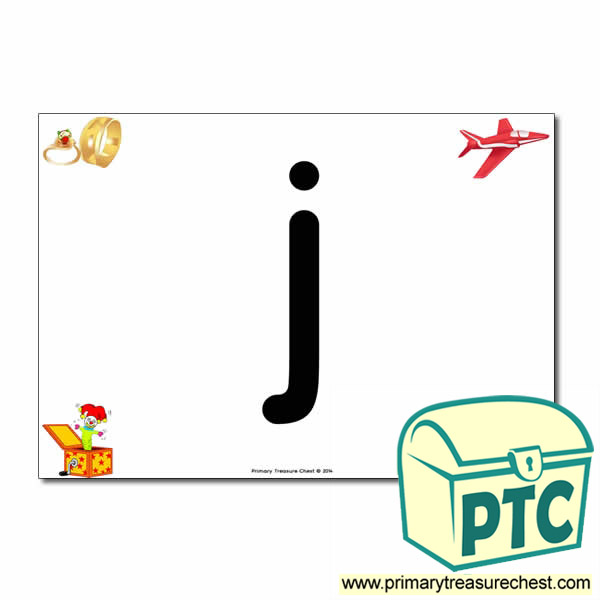 'j' Lowercase  Letter A4 Poster containing high quality realistic images.