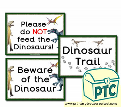 Dinosaur Shop Role Play Signs