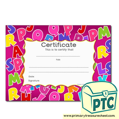 Alphabet Themed Certificate