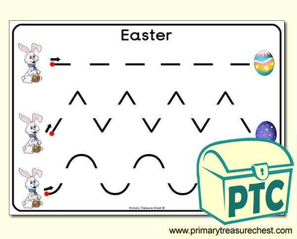 Easter themed pre-writing patterns activity sheets