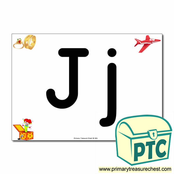 'Jj' Upper and Lowercase Letters A4 posterposter with realistic images