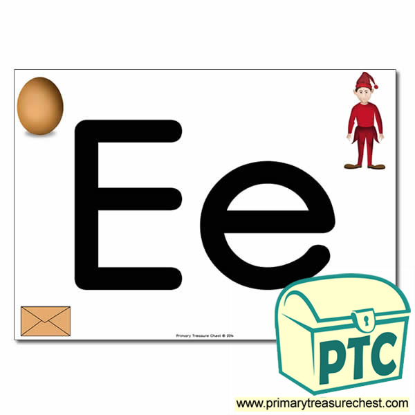 'Ee' Upper and Lowercase Letters A4 posterposter with realistic images
