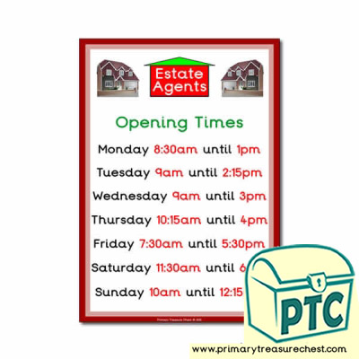 Role Play Estate Agents Opening Times Poster (Quarter & Half Past)