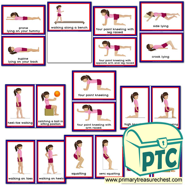 Gross Motor Activities Themed Flashcards - Boy Set One