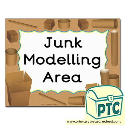 Junk Modelling area Classroom sign