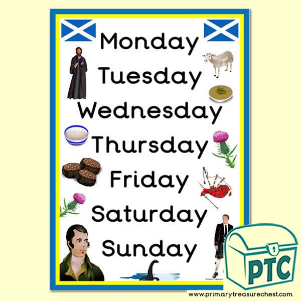 Scottish Themed Days of the Week Poster