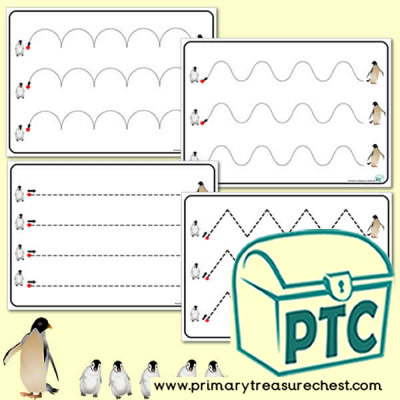Four Penguin themed Pre-Writing Pattern Sheets