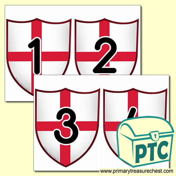 Saint George's Flag Themed Number Cards 0 to 25