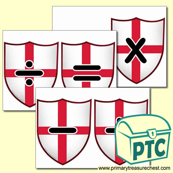 Saint George's Flag Themed Math Symbol Cards