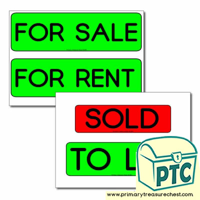 Role Play Estate Agents For Sale Signs