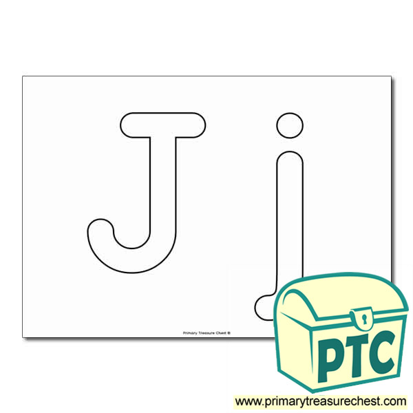 'Jj' Upper and Lowercase Bubble Letters A4 Poster - No Images.