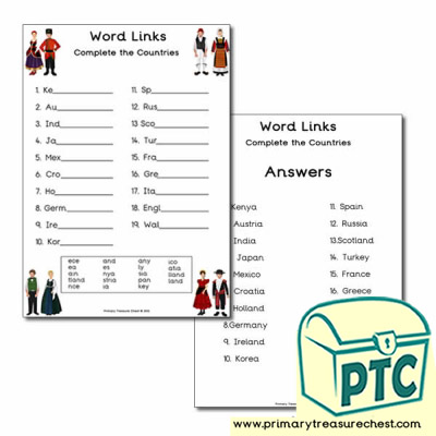 Traditional clothes Word Link Worksheet